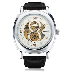 Winner Men Skeleton Square Big Dial Leather Mechanical Watch