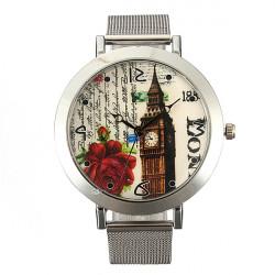 Woman Stainless Steel Mesh Band Big Dial Round Quartz Wrist Watch