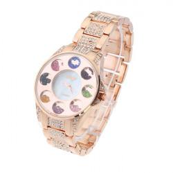 Women Colorful Pearls Rhinestone Round Dial Steel Fashion Watch