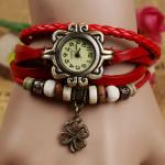 Women Four Leaf Clover Weave Pendant Bracelet Wrist Watch Watch
