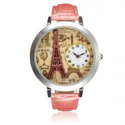 Women Ladies Eiffel Tower 3D Dial Pink Leather Band Quartz Wrist Watch