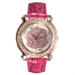 Women Rose PU Leather Crystal Rhinestone Quartz Women Wrist Watch