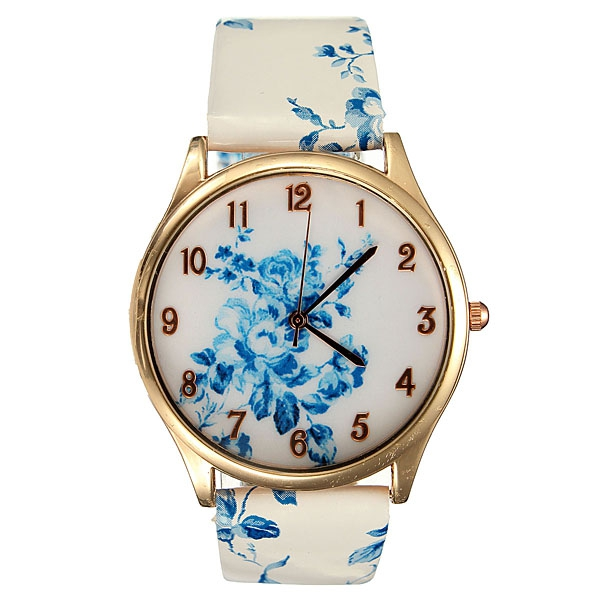 Women Stylish Analog Elegant Flowers Pattern Ladies Wrist Watch Watch