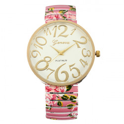 Women Trendy Dial Rose Flower Elastic Strap Bracelet Wrist Watch