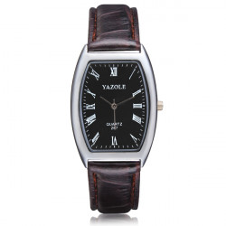 YAZOLE 267 Rectangle Roman Number PU Band Quartz Watch