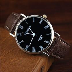 YAZOLE 268 Roman Number PU Band Big Dial Waterproof Quartz Watch