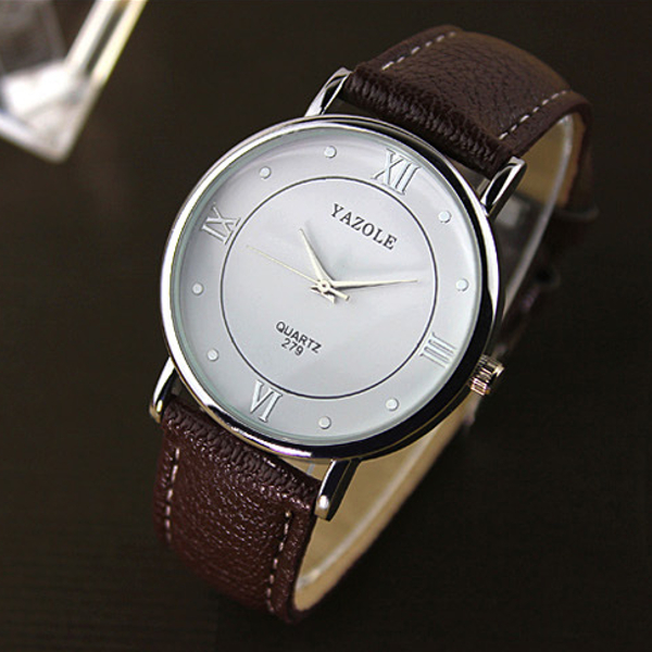 YAZOLE 279 Roman Number Thin Dial PU Band Quartz Watch Watch