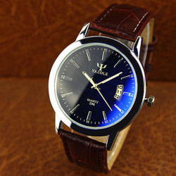 YAZOLE 296 Blue Glass PU Band Big Dial Waterproof Quartz Watch