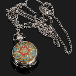 Yellow Flower pattern Quartz pocket watch necklace