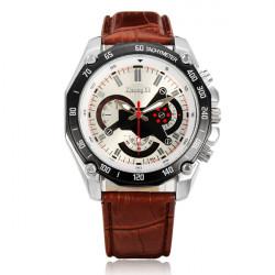 ZHONGYI Military BrownPU Leather 3 Dial Round Men Wrist Quartz Watch