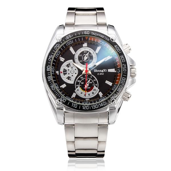 ZHONGYI Military Stainless Steel 3 Dial Round Men Wrist Quartz Watch Watch