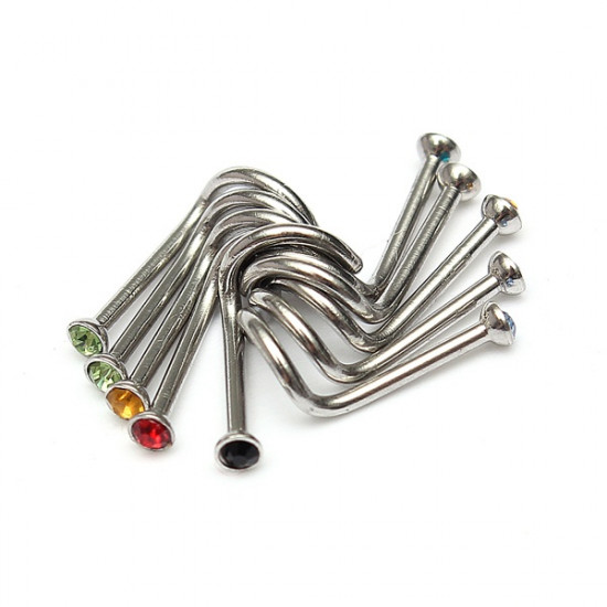 10pcs Gem Crystal Screw Nose Piercing Rings Studs Stainless Steel 2021