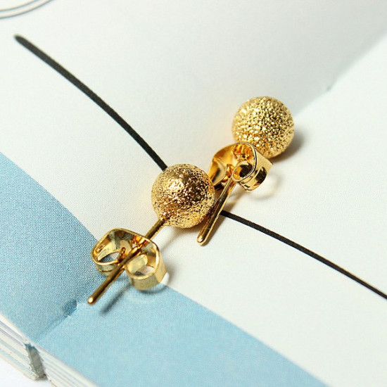 14K Gold Plated Globular Ball Stud Earrings Women Jewelry 2021