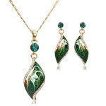 14K Gold Plated Green Oil Painting Austrian Crystal Drop Jewelry Set Fine Jewelry