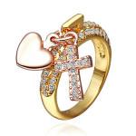18K Gold Plated Crystal Cross Heart Pendant Ring For Women Women Jewelry