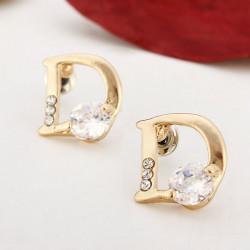 18K Gold Plated Letter D Zircon Ear Stud Crystal Alloy Earrings