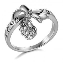 18K Gold Plated Love You Bow Ring Heart Rhinestone Finger Ring
