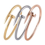 18K Gold Plated Nail Screw Cuff Bracelet Bangle For Women Men Women Jewelry