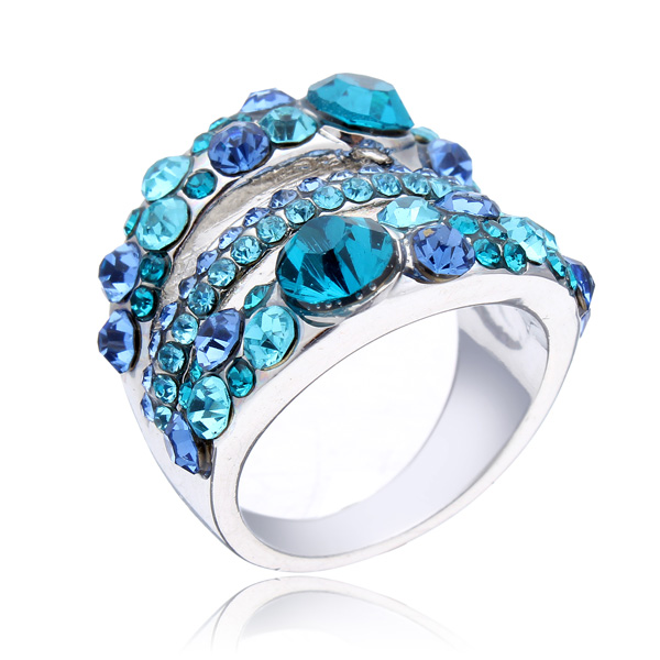 18K Platinum Plated Austrian Crystal Finger Ring For Women Fine Jewelry