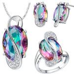 18K Platinum Plated Zircon Gemstone Oval Shape Jewelry Set Fine Jewelry