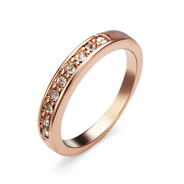 18K Rose Gold Plated Austrian Crystal Finger Ring For Women