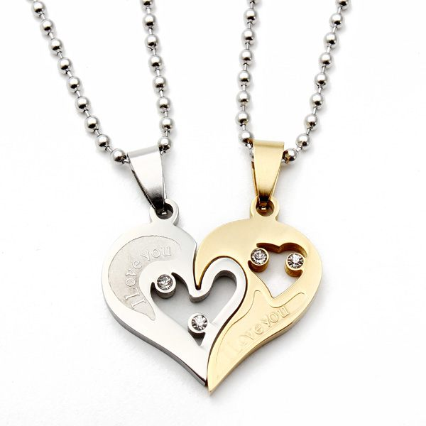 1 Pair 316L Stainless Steel I Love You Matching Hearts Lover Necklaces Fine Jewelry