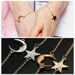 1 Pair Couple Friends Moon Star Chain Bracelets Gold Silver Women Jewelry