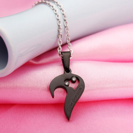 1 Pair Lovers 316L Stainless Steel I Love You Heart Pendant Necklaces 2021