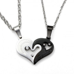 1 Pair Lovers 316L Stainless Steel I Love You Heart Pendant Necklaces