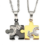 1 Pair Lovers Stainless Steel Male Female Symbol Puzzle Necklaces