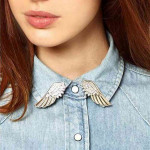 1 Pair Punk Gold Silver Wings Collar Alloy Pin Brooches Jewelry Women Jewelry