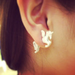 1pc 3D White Animal Unicorn Horse Puncture Ear Stud Earring Unisex Women Jewelry