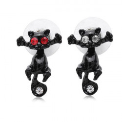 1pc 3D White Red Crystal Eyes Cat Kitten Puncture Stud Earring Unisex
