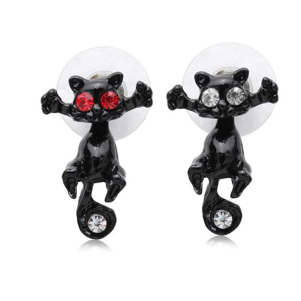 1pc 3D White Red Crystal Eyes Cat Kitten Puncture Stud Earring Unisex Women Jewelry