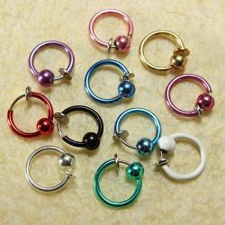 1pc Clip On Hoop Body Nose Lip Bead Ring No Piercing Spring Ear Stud