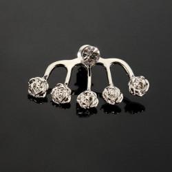 1pc Crystal Round Heart Rose Flower Ear Stud Earring For Women