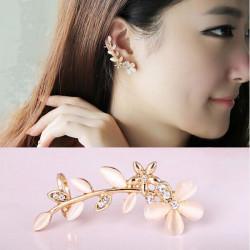 1pc Gold Plated Opal Rhinestone Flower Leaf Ear Clip Cuff Earrings
