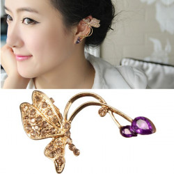 1pc Gold Rhinestone Crystal Butterfly Ear Clip Earring For Women