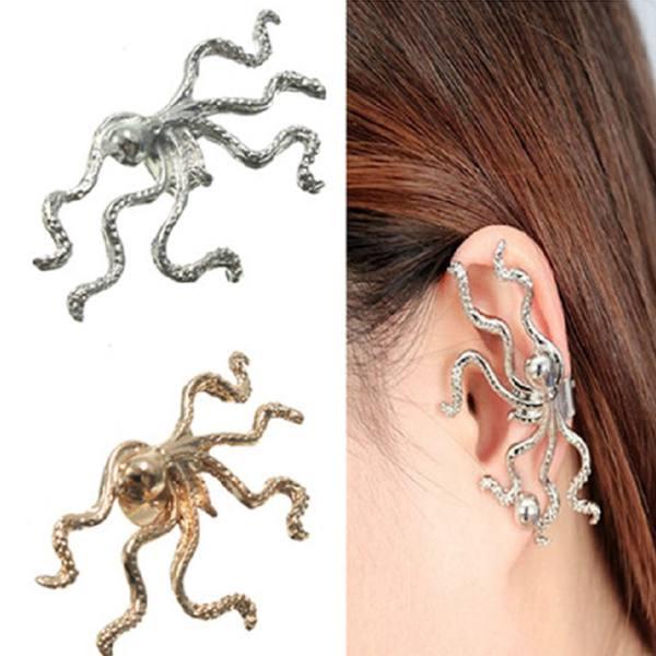 1pc Gold Silver Alloy Octopus Animal Ear Cuff Clip Earring Jewelry Women Jewelry