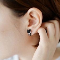 1pc Lovely Black Leopard Cat Puncture Ear Stud Earring For Women