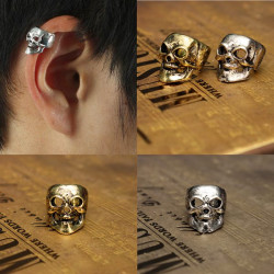 1pc Punk Alloy Skull Head Ear Clip Earring Hook No Piercing