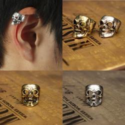 1pc Punk Alloy Skull Head Ear Clip Earring Hook No Piercing