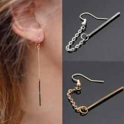 1pc Punk Charm Tassels Link Chain Alloy Bar Drop Earring For Women