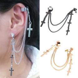 1pc Punk Cross Tassel Ear Cuff Wrap Clip Earring Jewelry Unisex