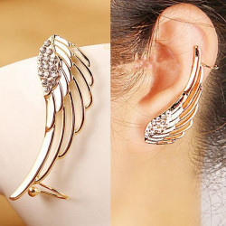 1pc Punk Gold Rhinestone Angel Wing Stud Earring For Women