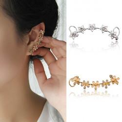 1pc Rhinestone Star Flower Earring Clip Ear Cuff For Women