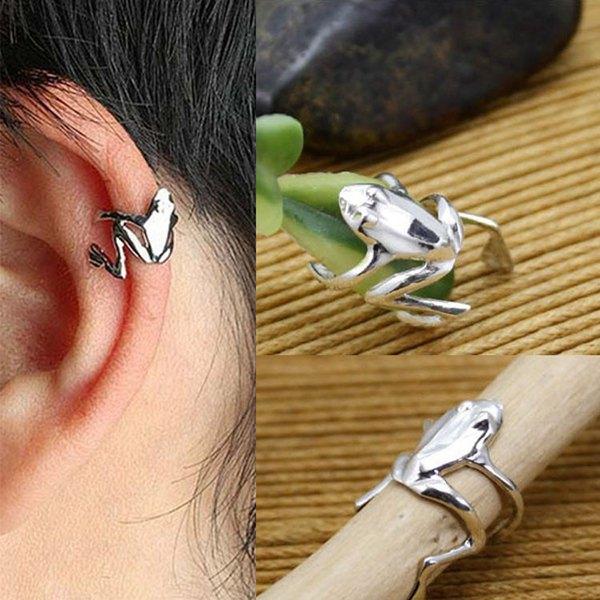 1pc Silver Alloy Wrap Frog Ear Cuff Clip Earring Hook No Piercing Women Jewelry