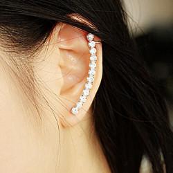 1pc Silver Rhinestone Ear Clip Stud Earring For Women