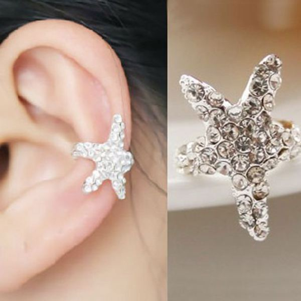 1pc Silver Rhinestone Wrap Starfish Ear Cuff Clip Earring No Piercing Women Jewelry