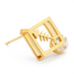 1pc Square Fishbone Zircon Crystal Stud Earrings Gold Silver Plated